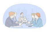 Teamwork, negotiations, brainstorming in office concept