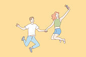 Jumping people, selfie, couple, leisure concept