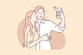 Couple in love take selfie concept