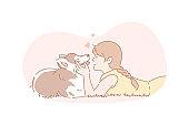Owner, dog, pet, friendship, care concept