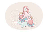 Happy leisure and activities at home with children concept