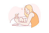 Selfie, motherhood, childhood, family concept