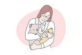 Animal care, medicine, veterinary, examination concept