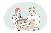 Donation, charity, humanitarian help concept