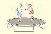 Recreation, fun, jumping children, friendship, childhood concept