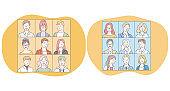 Portraits, classmates, faces, people, photo album, university, team concept