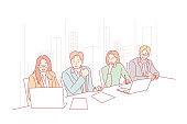 Business team, meeting, presentation, hr, audition, partnership concept.