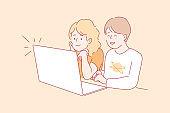 Children watching videos concept