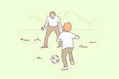 Sport, football, family, fatherhood, childhood concept