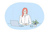 Working in office, modern company worker, online communication concept