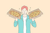 Pizza, food, delivery, happiness concept