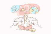 Dream, yoga, meditation, relax, imagination concept.