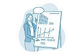 Marketing data, presentation, brainstorming in office concept