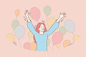 Fun, success, celebration, holiday, joy concept