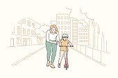 Motherhood, riding, childhood, training concept.