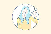 Friendly nonverbal greeting gesture concept