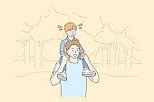 Childhood, fatherhood, support, walking concept.