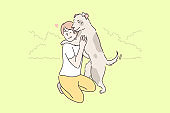 Child playing with dog concept