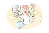 Family, video conference, communication concept