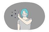Danger or coronavirus infection epidemic, protective facial mask, pandemic concept