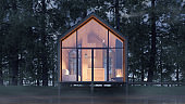 Secluded tiny house on the sandy shore of a lake with fog in a coniferous forest in the cold night light and with warm light from the Windows. Stock 3D illustration