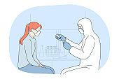 Vaccination, coronavirus infection epidemic, protective facial mask concept