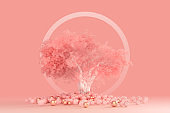 3D render of minimal clean design concept of a coniferous fluffy tree with a white crown isolated on a light pink peach background with a round white frame around it. Environmental concept.