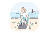 Collecting garbage, saving ecosystem, environment cleaning volunteer concept
