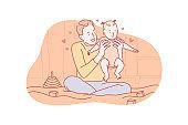 Fatherhood, playing, love, fathersday concept