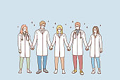 Doctors teamwork, uniting efforts against COVID-19 pandemic concept