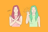 Sign language, stop and ok, opposite emotions concept