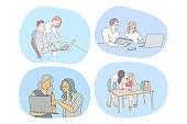 Teamwork, cooperation, startup concept