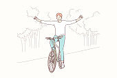 Cycling in park, freedom, lifestyle concept