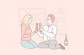 Dating at home, romantic dinner, love atmosphere concept