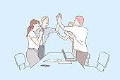 Colleagues celebrate success concept