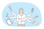 Multitasking, business efficiency, management concept
