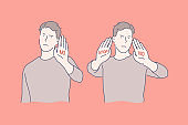 Sign language, stop and no gestures, negative emotions concept