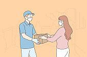 Delivery, quarantine, covid19, coronavirus, infection concept.