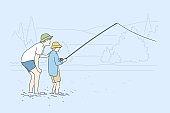 Fatherhood, fishing, childhood, training, leisure concept.