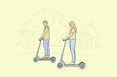 Summer recreation, riding, leisure time concept