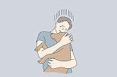 Stress, depression, frustration, embrace, animal, help concept