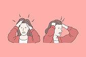 Irritation, headache, negative emotions concept