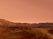 Mars landscape with a red rocky terrain