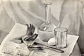 Watercolor monochrome still life with vodka decanter jug, faceted glass, pickle cucumber, stained still knife, boiled egg, smoked herring, dried fish tail on a soviet newspaper background