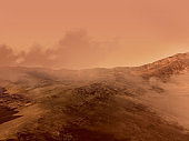 Mars red rocky terrain and fog