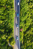Croatia. Aerial view on road in the forest. Highway throu the forest. View from a drone. Natural landscape in summer time from air. Travel - image