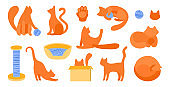 Vector set of silhouettes of red cats in flat style. Vector callip art animal. Scratching post, bedding, tangle for playing, cat s paw. Cute cats for flat design