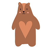 Cute cartoon teddy bear. Vector illustration in scandinavian style. T-shirts, apparel design clothes, cards, baby shower invitations. Good brown grizzly bear, wild animals. Series of animals
