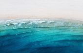 Aerial view on the coast line. Beach and sea from air as a background. Summer seascape from drone. Travel - image