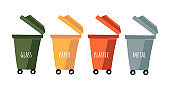 Separation concept. Vector collection of colored bins for separate collection of garbage. Basket with inscriptions glass, paper, metal, plastic. Red, yellow, green and gray pots isolated on light